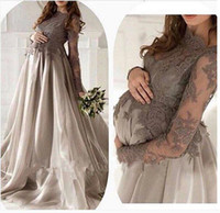 Wholesale Dresses For Pregnant Long Sleeve - A line sleeve Gray Silver Lace Organza floor length Evening Dresses maternity For Pregnant Women Elegant Dubai Arabic Dresses Prom long