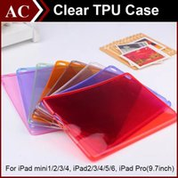"Wholesale Crystal Clear Ipad Air Case - Crystal Clear Transparent Soft TPU Gel Back Case Cover For iPad Mini 1 2 3 4 Air 5 6 Pro 9.7"" Candy Color Shockproof Protective Shell"