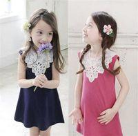 Wholesale Knee Joint Line - NEW 2016 kids girl lace split joint cotton dress fashion sleeveless underwaist children dress YN32