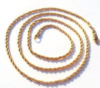 collar de cadena de cuerda de oro amarillo de 14 k al por mayor-Amarillo fino joyas de oro partes fina cadena collar trenzado de 14 k oro amarillo de superposición fina cuerda larga francesa