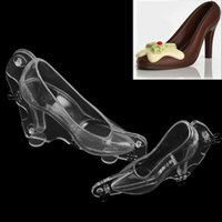 Wholesale Moulding Paste - DIY 3D Plastic Mould Stereo Women High Heels Shape Chocolate Mold Candy Sugar Paste Cake Molds Baking Tools 13dy B R