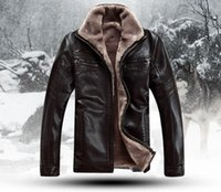 Wholesale Leather Men Coat Very - Fall-HOT!!! Free shipping Men's Brand luxury fur sheep leather men's Fur coat very warm in Winter Leather jacket,M-4XL