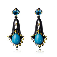 Wholesale Morning Glories Plants - New Morning Glory Flower Design Earrings With Blue Stones in Gold and Black Plated Elegant Earrings