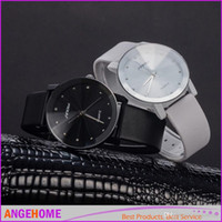 Wholesale Elegant Sinobi Ladies Watch - 2016 New SINOBI Watch Luxury Brand Diamond Crystal Silver Case Elegant Quartz Wrist Watches Men's Lady Synthetic Leather Strap Watches