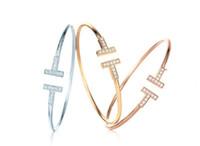 браслеты из металла с шармом оптовых-Позолоченный регулируемый CZ Кристалл Pulsera двойной Т образный металлический манжеты BraceletsBangle открыть крест браслет для женщин или мужчин