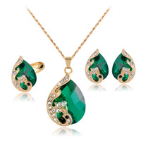 Wholesale crystal peacock pendant necklace - Crystal Peacock Necklace Earrings Rings Jewelry Sets Gold plated Pendants for Women Fashion Jewelry Gift