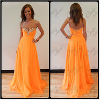 Wholesale Sexy Dance Long Dresses - Cute Orange Crystals Prom Dresses Long Party Dance Dress Sweetheart Chiffon Pleats Back Zipper Floor Length