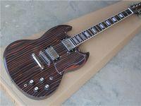 Wholesale Zebra Strings - Electric Guitar With Zebra Wood Body,Flowerpot Shape Fret Marks Inlay,Chrome Hardware,can be Customized