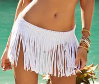 Wholesale Free Fringe - 2016 Women's Elastic Waist Crochet Mini Skirt Tassel Fringe Beach Cover up Skirt