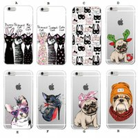 Cute Puppy Bunny Cat Princesa Meow Bulldog francês Soft Transparente TPU capa de silicone para iPhone X 10 8 7 6 6s Plus 5S 5C Case