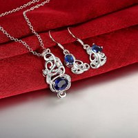 Wholesale 925 silver necklace for sale - High grade fashion Hollow 925 silver necklace earring jewelry sets; brand new sterling silver blue gemstone set online for sale GTFS131A