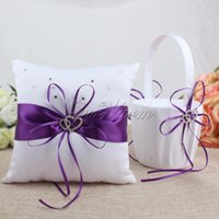 Wholesale white basket set - 2Pcs  Set Satin Wedding Party Decoration Product Ring Pillow +Flower Basket Home Decor White Color