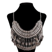 Wholesale European Necklaces Statement - Fashion European jewelry bohemian style chain coin tassels Turkish statement chunky necklace carving flower choker necklaces