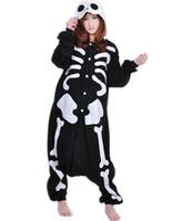 Wholesale Skull Onesie - Winter New Sleepsuit Adult Cartoon Skeleton Skull Onesie Unisex Pajamas Cosplay Costumes Sleepwear Cartoon Jumpsuit All In One Halloween