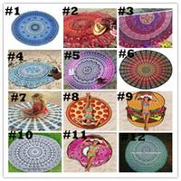 ingrosso grande arazzo-Indian Round Mandala Tapestry All'aperto Coperta Pincnic Telo da mare Tiro Ya-ga Stuoia 150 * 150 cm Chiffon Scialle grande per donna 150cm BKT056