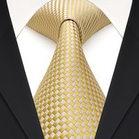 Corbata Set F15 Gold Yellow Silver Checked Solid Mens Neckties 100% Silk Jacquard Woven Traje de regalo para hombres Envío gratis
