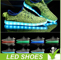 Wholesale square dancing shoes - Hot Melbourne Shuffle Dance Rio Olympic Unisex 7 LED Light Lace Up Luminous Shoes Sports wear Sneaker Casual Skateboard Ghost dancing