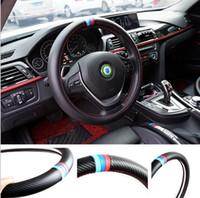 углеродное волокно для рулевого колеса оптовых-38 см стайлинга автомобилей руль обложка интерьер Декор углеродного волокна Спорт обложка для BMW X1 X3 X5 X6 E36 E39 E46 E30 E60 E90 E92