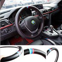 fibra de carbono x1 al por mayor-38 CM coche que labra la cubierta del volante decoración interior fibra de carbono cubierta del deporte para BMW X1 X3 X5 X6 E36 E39 E46 E30 E60 E90 E92