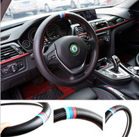 Wholesale Pu Steering Wheel - 38CM Car Styling Steering Wheel Cover Interior Decor Carbon Fiber Sport Cover For BMW X1 X3 X5 X6 E36 E39 E46 E30 E60 E90 E92