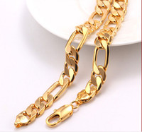 Wholesale Nickel Free Wedding Jewelry - FINE YELLOW GOLD JEWELRY fashion simple men's 18K 100% solid gold flat Cuba plated curb link chain necklace real heavy Nickel free, not alle