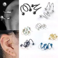 Wholesale Nose Spiral - 5 Colors S Labret Nose Ring 1.2x8mm 1.2x10mm Bar Double Spiral Twister Tragus Ear Piercing Helix Ring Body Jewelry 1Pair