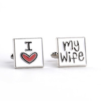 Wholesale Men Cufflinks Letters - 2016 Letter Cufflinks I love My Wife Cuff Links Men Shirt Charm Zinc Alloy Cufflinks Free Shipping New Arrival Fashion jewelry zj-0903660