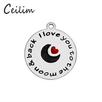 Wholesale Wholesale Love Word For Bracelet - Wholesale round & heart I love you word charms accessories stainless steel moon charms for jewelry making supplies DIY bracelets jewelry