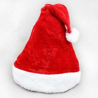 Wholesale Plush Santa Hats - 10Pcs  Lot Red Christmas Ornaments Adult Flannelette Plush Christmas Hats Santa Hats Children Cap For Chiristmas Party Props