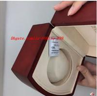 ingrosso orologi di lusso di legno-Scatola nuovissima di lusso BOX PER OROLOGI Scatole per orologi rossi Mens per orologio Scatola di legno interno Uomo esterno Orologi da donna Scatole di carta