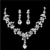 Wholesale Sparkling Rhinestone Ring - 2017 New Style Sparkling Silver Bridal Rhinestone Crystal Drop Necklace Fashion Earring Plated Jewelry Set Wedding Earrings Pendant