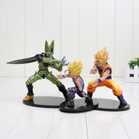 dragon ball z kai figures d'action achat en gros de-Nouveau 100% Banpresto Showcase Dramatic Dragon Ball Z Kai Goku Gohan et Cell Figure action PVC Modèle 12cm-17cm