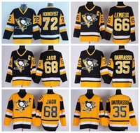 Wholesale Nylon 66 - Throwback Pittsburgh Penguins Jerseys Ice Hockey 66 Mario Lemieux 68 Jaromir Jagr 35 Tom Barrasso 72 Patric Hornqvist Retro Black Yellow