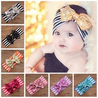Wholesale Top Girl Hair - Baby Sequin Bowknot Striped Headbands Kids Turban Headwrap Girl Big Bow Top Knot Fashion Elastic Hair Accessories