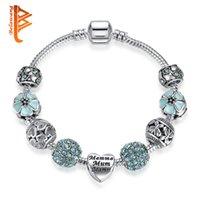 Wholesale Blue Enamel Flower - BELAWANG Silver Heart Shape CZ Beads Women Letter Bracelets Blue Enamel Flower Charm Beads Bracelet&Bangles For Mother's Day Jewelry Gift