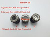 Wholesale Ego Bowl - Quartz Tube Wax Coil For Skillet Atomizer Quartz Bowl Dual Quartz replacement coil skillet atomizer Ego D vaporizer