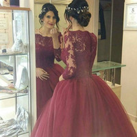 Wholesale Greek Style Dresses - 2016 Burgundy Ball Gown Wedding Dresses Greek Style Romantic Princess Gown with Lace Long Sleeves Middle East