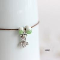 Wholesale Ball Artistic - Baby whale Handmade original simple design ceramic bead anklet Creative artistic accessory