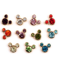 Wholesale Glass Memory Living Locket Letters - 20pcs lot Free shipping Charms Mix Crystal Minnie Mouse Floating Charms For Glass Living Memory Locket