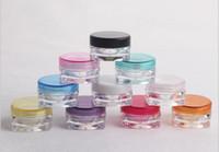 кремовые банки оптовых-2000 шт. / лот 3G квадратных крем банки прозрачный пластик макияж суб-розлива, пустой косметический контейнер, небольшой образец маски канистра