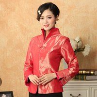 Wholesale Chinese Style Suits Women - Red Chinese Women's Satin Long Sleeve Jacket Classic Style V-Neck Printing Tang Suit Single Breasted Coat Size S TO 3XL