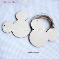 All'ingrosso- (50pcs / lot) 70mm Unfinished Blank legno testa del mouse catena chiave tag rustico con stringhe -CT1259