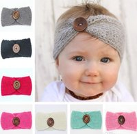 Wholesale Knit Headwrap Button - Onsale New Baby Girls Fashion Wool Crochet Headband Knit Hairband With Button Decor 10 Colors Winter Newborn Infant Ear Warmer Head Headwrap