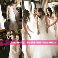 Wholesale Cheap Detachable Wedding Gowns - 2016 Cheap country Two Pieces 2 in 1 Mermaid Wedding Dresses with Removable Long Over Skirt Train Pearls Bridal Gowns Plus Size Cheap