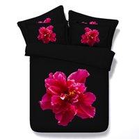 Wholesale Brown Comforter Sets Flowers - 3D Comforter sets Bedding set black and red Flower Floral duvet cover bed sheet bedspread quilt doona queen size super king 5PCS gift