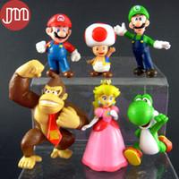 """Wholesale Luigi Peach Figures - New 6 PCS Super Mario Bros Peach Yoshi Luigi Kong Monkey 3"""" DK Action Figure Kids Toys PVC Birthday Gift Collections Tracking"""
