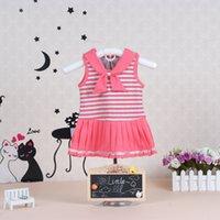 Wholesale Little Pink Underwear - 2016 Little Q sleeveless striped baby girl summer cotton dress pink princess children underwear kid clothing