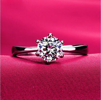 Wholesale Large Crystal Silver Rings - Never Fading 6 Claws Large Simulated Diamond Rings Women 18K White Gold Plated Engagement USA Size