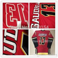 Wholesale Cheap Free Size White Shirts - 2016 Mens Ice Hockey Jersey Calgary #13 Johnny Gaudreau Red White Stitched Gaudreau Hockey Shirt Cheap Free Shipping Size M-3XL