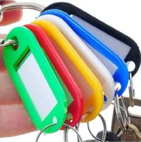 Wholesale Plastic Card Keychain - DIY Hotel Home Blank Key Classification Tags Plastic Language Keychain ID Name Cards Labels With Ring 100 PCS Lot
